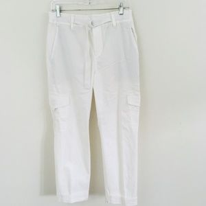 VINCE White Belted Cargo Crop Pants